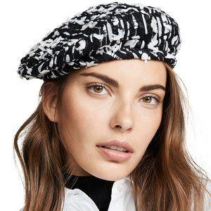 Eugenia Kim Cotton Tweed Hat Blue/White Beret Styl